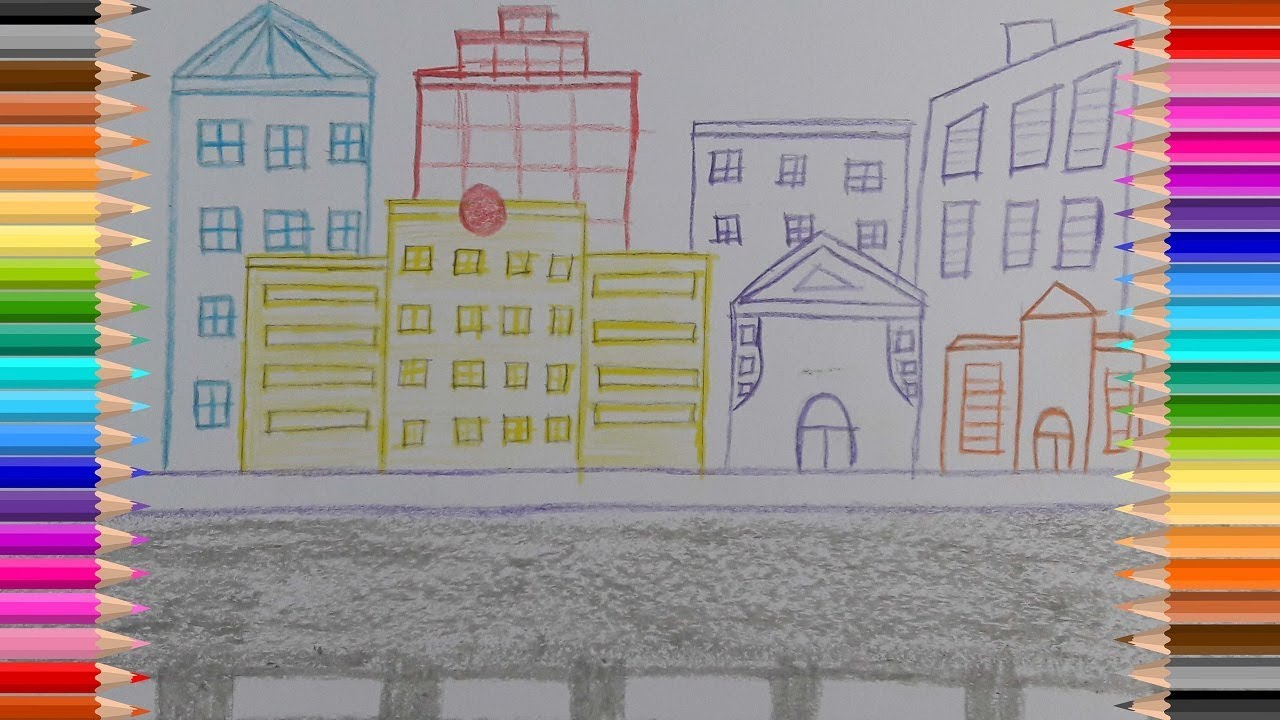 How To Draw City Scene Very Easy City Scene Drawing Avro