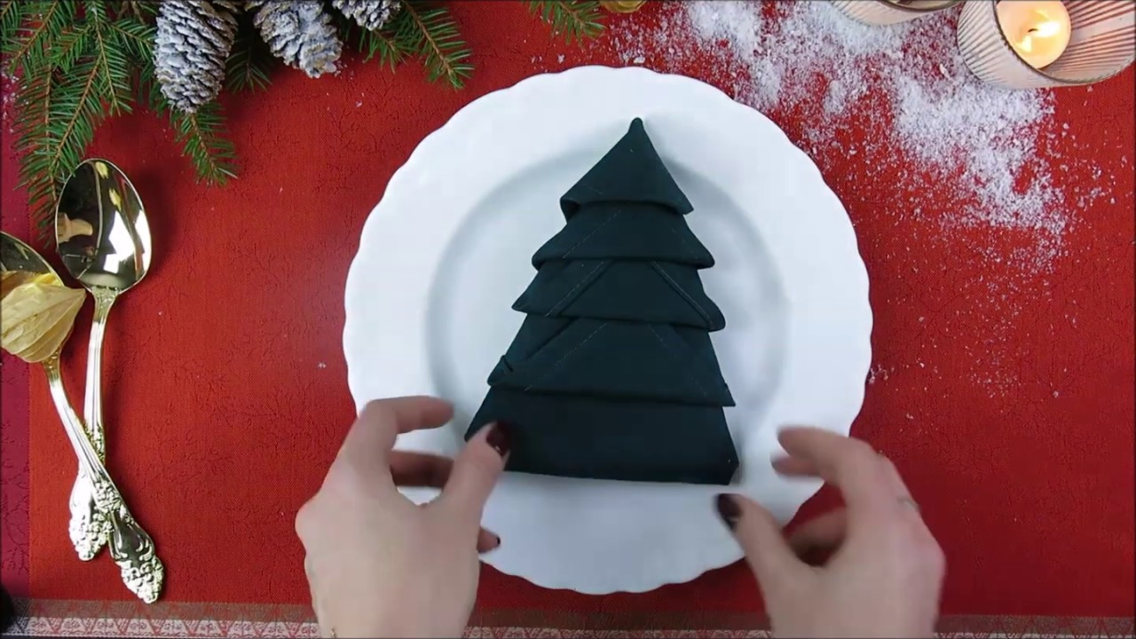 Pliage De Noel DIY PLIAGE SERVIETTE SAPIN DE NOËL   YouTube