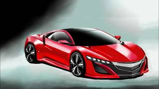 How to Draw a car HONDA NSX 2015/SSC  /車のイラスト