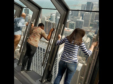 Tilting attraction on 94th floor of a Chicago's Hancock Observatory