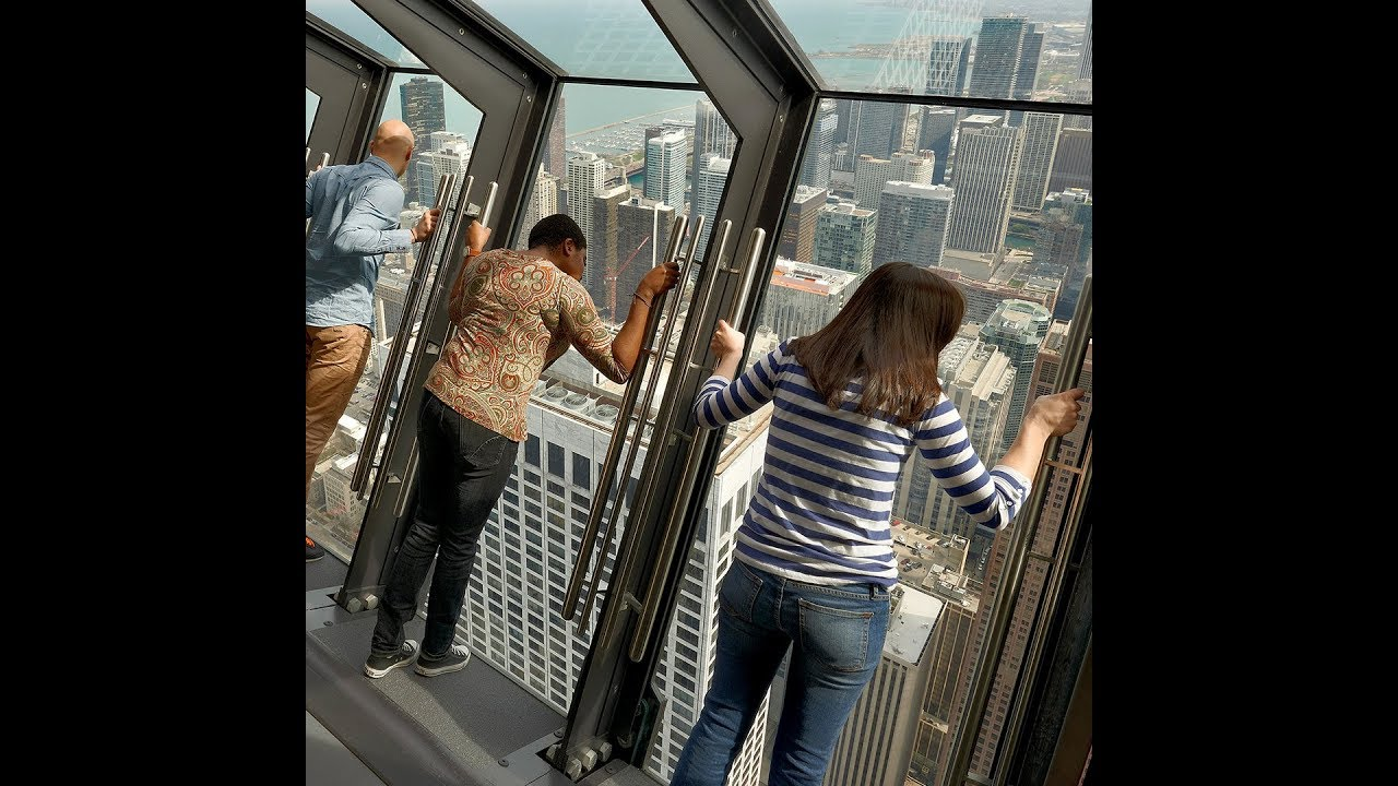 Tilting attraction on 94th floor of a