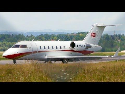 Challenger 605 B-7768 Beijing Capital Airlines Landing at Bern