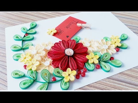 DIY Paper quilling Flower Card Design 35 // Quilling flower card // Greeting Card