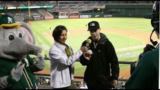Interviewed on the Jumbotron during the game at the Oakland Coliseum