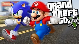 SUPER MARIO VS SONIC THE HEDGEHOG MOD (GTA 5 PC Mods Gameplay)