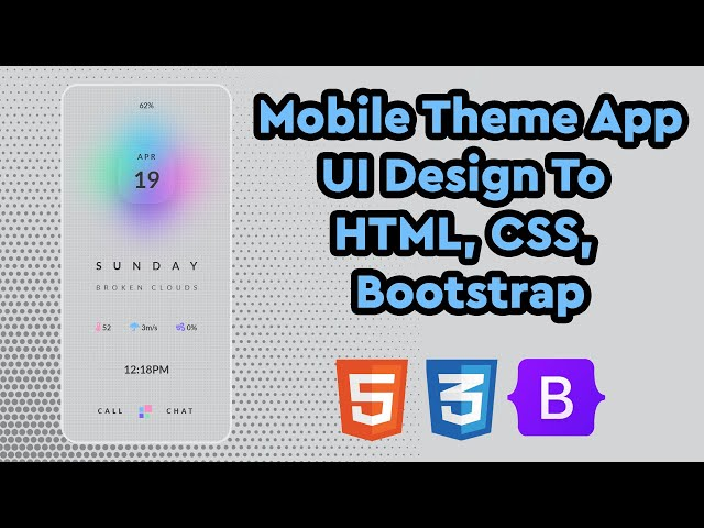 Glossy Textured Mobile Theme App | UI Design to HTML, CSS Using Bootstrap 5 | CSS Grid | Blur Filter