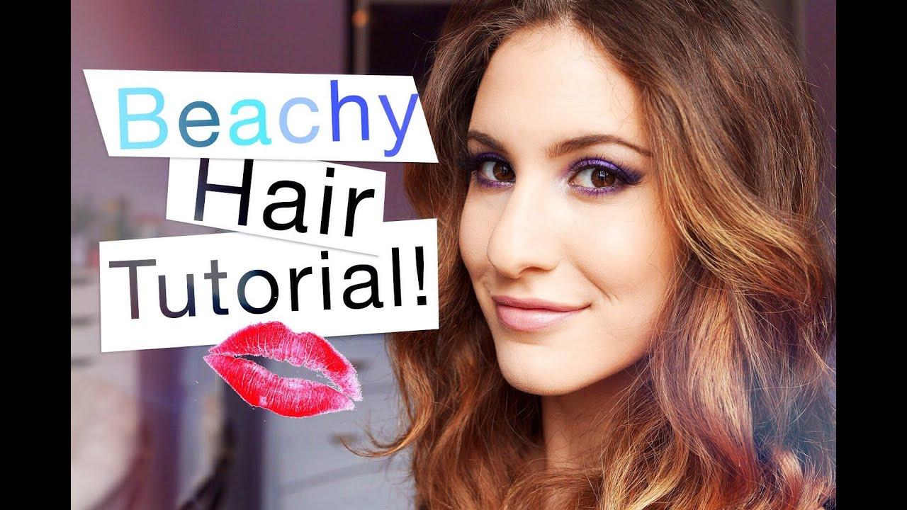 Beachy Waves Hair Tutorial ♡ On Mid Length Hair Youtube
