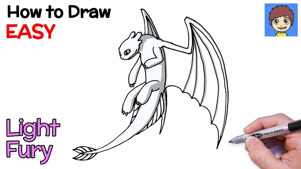 How To Draw Light Fury Step By Step How To Train Your Dragon 3