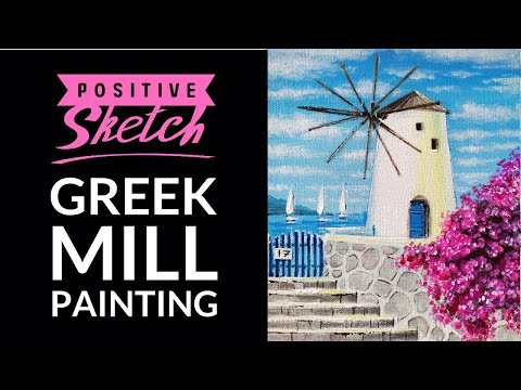 Acrylic painting, Greek Mill, Landscape, Painting tutorial