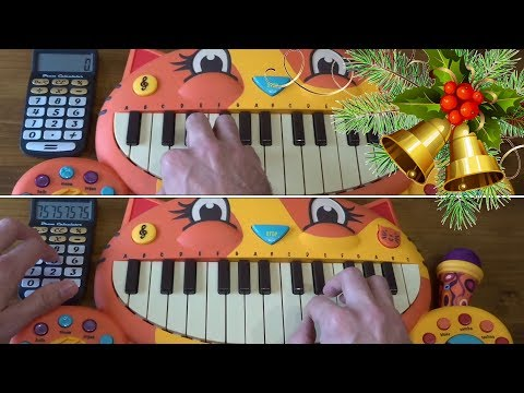 JINGLE BELLS ON 2 CAT PIANOS AND A DRUM CALCULATOR