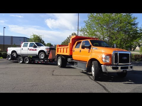 Ford F650 dump truck Part 3, crew cab hauling loads and trailering