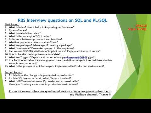 RBS interview questions and answers on SQL and PLSQL - YouTube
