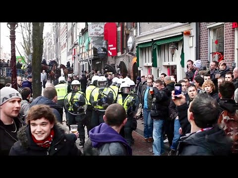 Ajax-Manchester with hooligans riots on the Red Light District Amsterdam