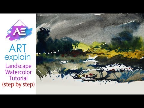 Rain Watercolor Painting Landscape | How to paint a watercolor landscape | Art Explain