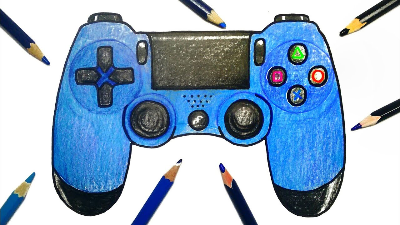How To Draw Playstation Controller Youtube