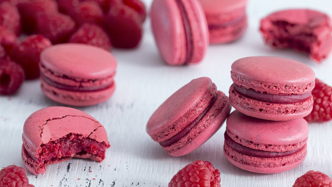 Raspberry Macarons - Italian Meringue Method