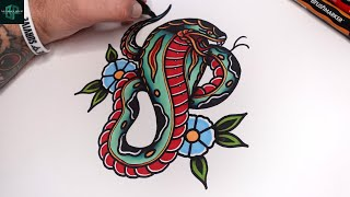 Learn How to Dŗaw an Old School Cobra Snake Tattoo Design