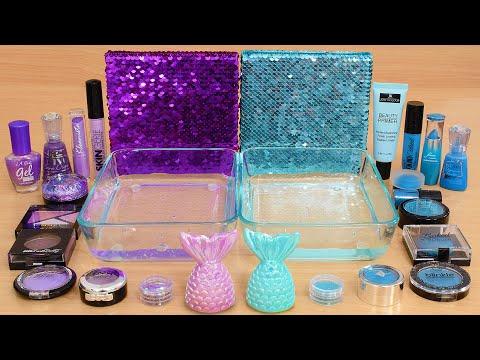 Purple Vs Aqua Blue - Mixing Makeup Eyeshadow Into Slime ASMR 370 Satisfying Slime Video