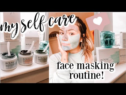 SELF CARE FACE MASKING ROUTINE | Bl'eau Glacial Oceanic Clay mask - benefits of multi-masking!