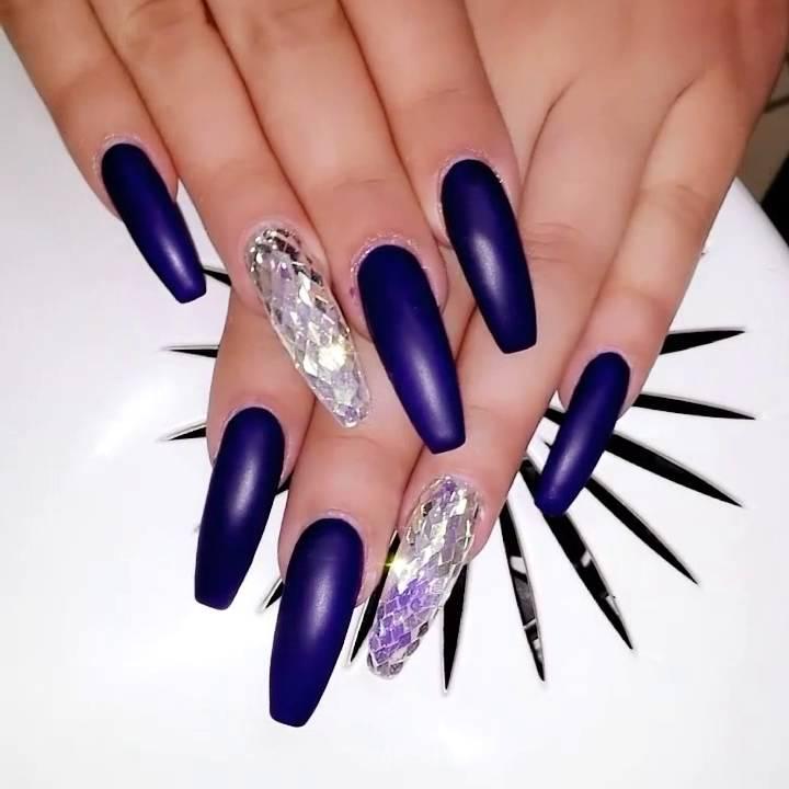 Long nails art . Purple ! Salon 'Bet & Ina' - YouTube