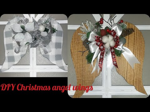 DIY dollar tree Christmas angel wings farmhouse/rustic/glam