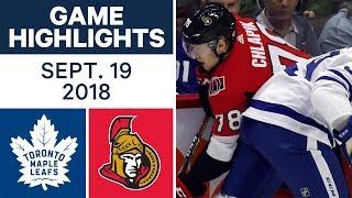 NHL Pre-season Highlights   Maple Leafs vs. Senators - Sept. 19, 2018