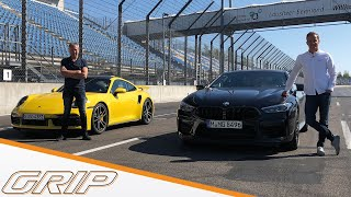 Sportwagenduell | Porsche 911 Turbo S gegen BMW M8 Competition | GRIP