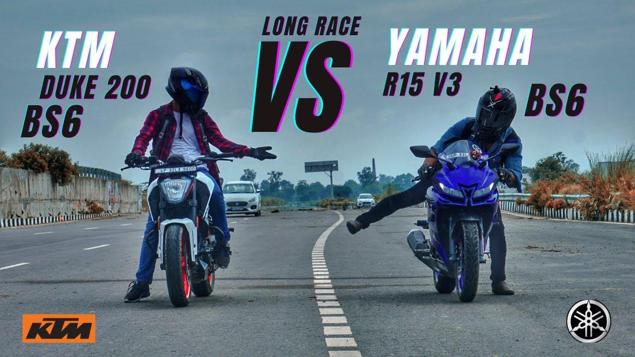 Ktm Duke 200 Bs6 Vs Yamaha R15 V3 Bs6 Long Race | कतई ज़हर | Ksc Vlogs