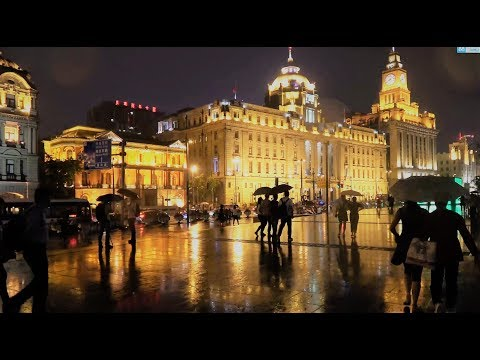 China Travel Tour- Shanghai - Night of the Bund Former British Settlement weekday Best night view 4K