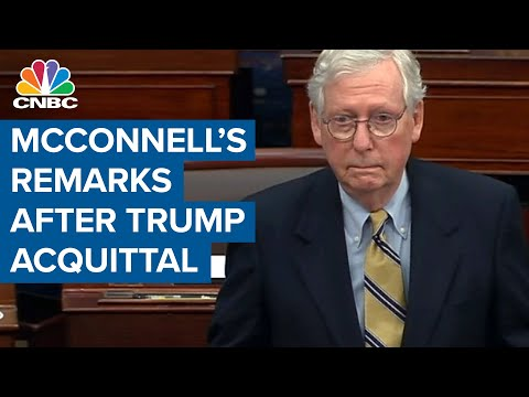 Sen. Minority Leader Mitch McConnell delivers statement after Trump acquittal