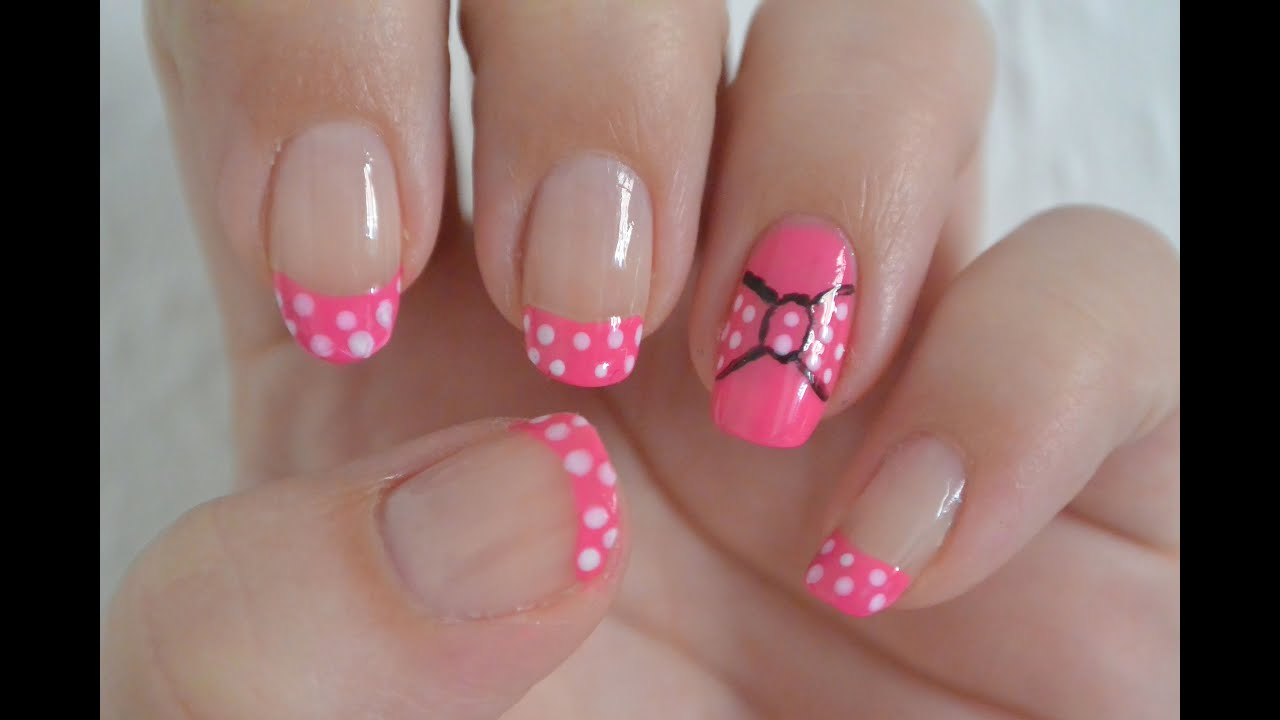 Minnie Mouse Inspired Nail Art Design Tutorial Youtube