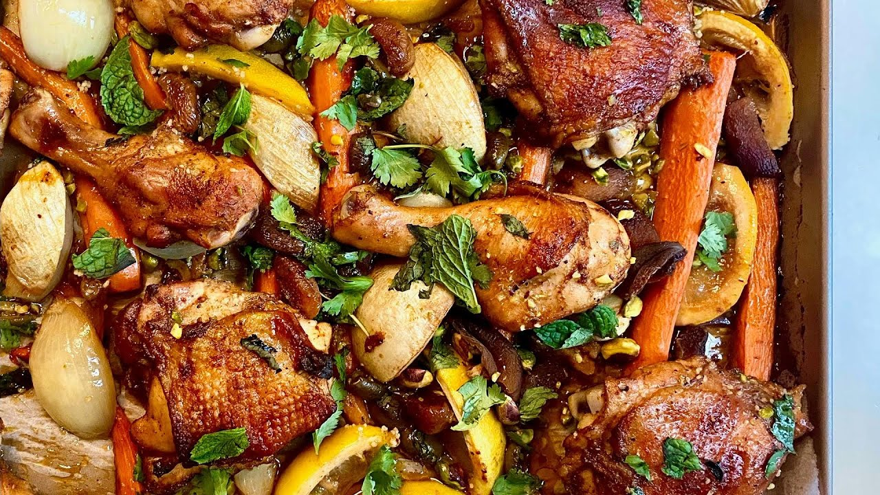 How To Make Moroccan-Style Sheet Pan Chicken with Apricots, Olives & Lemons | Gail Simmons