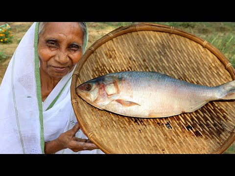 Tel Jhal Ilish Recipe | Sorshe Jhal Hilsha Recipe cooking in village style | Grandmother Recipes
