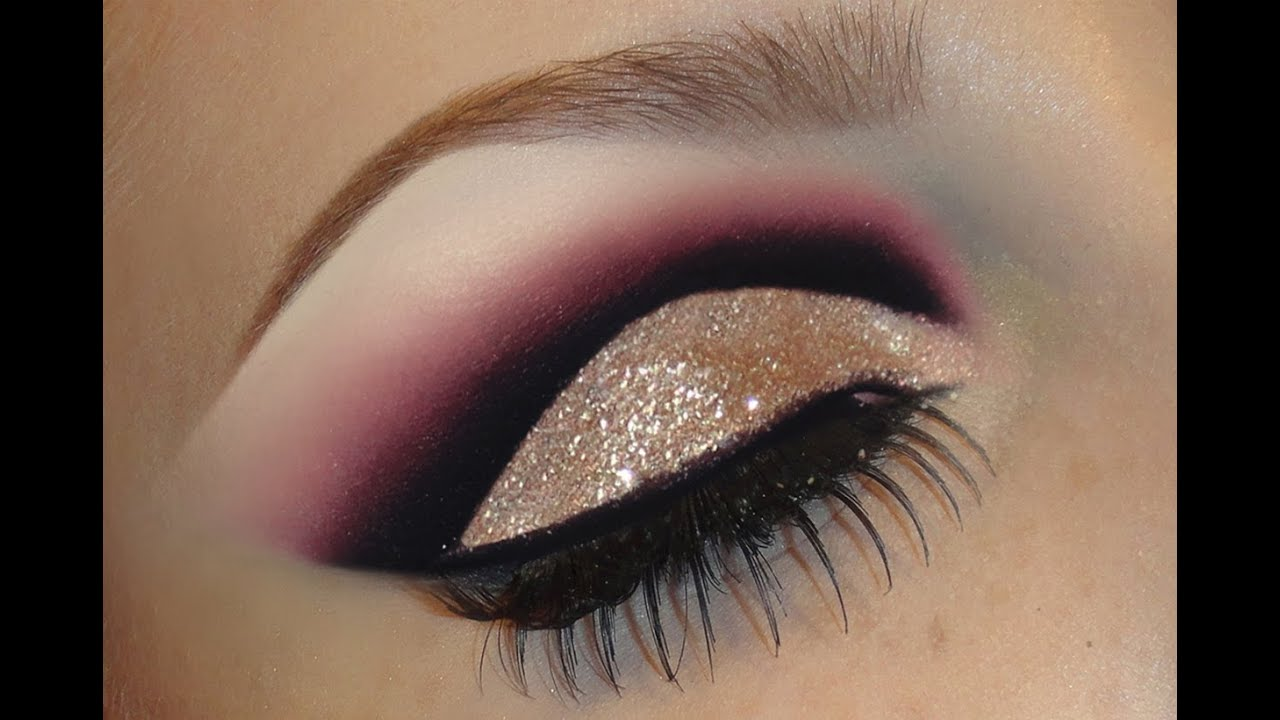 Gold Glitter Dramatic Cut Crease Makeup Tutorial Black With Pink