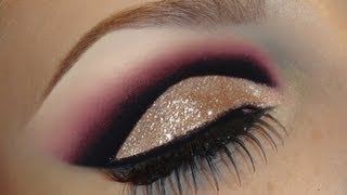 Gold Glitter Dramatic Cut Crease Makeup Tutorial / Black With Pink Smokey Valentines Day Look