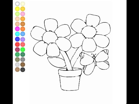 Flower Pot Coloring Pages For Kids - Flower Pot Coloring Pages - YouTube