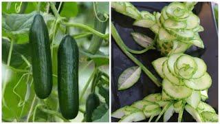 How To Make Cucumber Flower Carving Garnish - ~ cucumber cutting ~تزيين الخيار