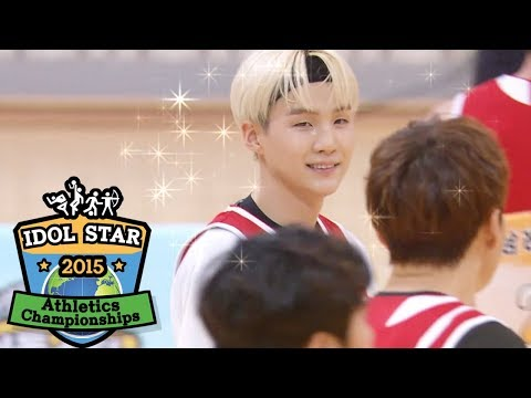 Suga's (BTS) Supported His Shot with His Left Hand! [2015 Idol Star Athletics Championships]