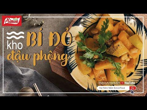 Hướng dẫn nấu món chay ngon BÍ ĐỎ KHO ĐẬU PHỘNG   Hạt Nêm Nấm   Simon Food Show