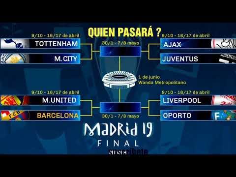 Como quedaron los cuartos de final de la champions 2019 - YouTube