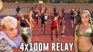 LOGAN PAUL, JAKE PAUL, SOMMER RAY compete in the 4x100 Relay