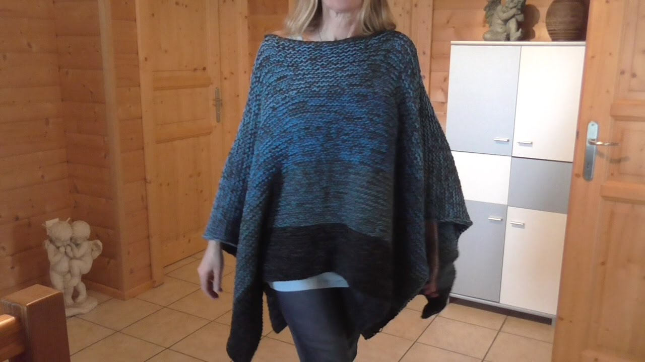 Poncho stricken super einfach - YouTube