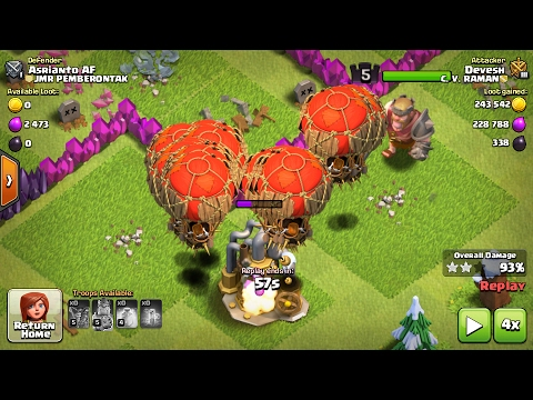 Clash of clans-level 5 balloons attack on all maxed level 8 bases