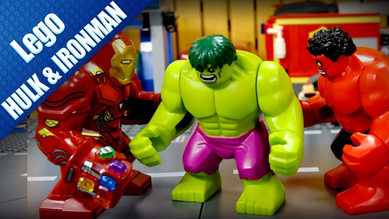 Lego Marvel | Lego Stop Motion Hulk and Iron Man defeat Red Hulk - Sen Vang Kids