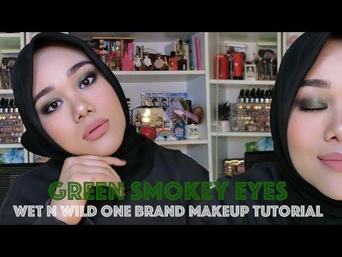 GREEN SMOKEY EYES | WET N WILD ONE BRAND MAKEUP TUTORIAL, FIRST IMPRESSION | MakeupbyFatya