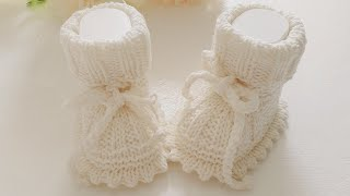 Пинетки для новорожденных спицами.
