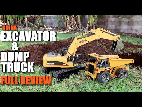 HUINA EXCAVATOR & DUMP TRUCK 1/12 Scale - Full Review - [Unbox, Inspection, Run Test, Pros & Cons]