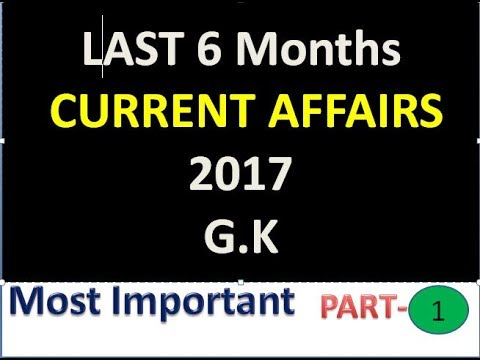 Last 6 Months Current Affairs January July 2017