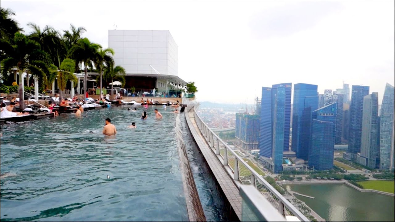 Singapore skypark pool sands marina bay hotel 57th floor youtube - Marina bay sands resort singapore swimming pool ...