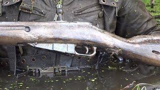 Болото сохранило, Нашли винтовку и кучи патронов, на поисковый магнит и металлоискатель